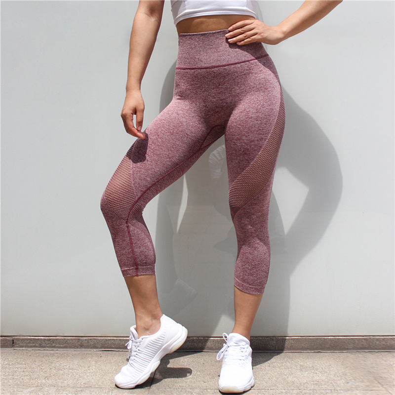 Tights Sportswear Woman Gym Yoga High Waist Pants Sports Seamless Leggings For Fitness Compression Mesh Slim