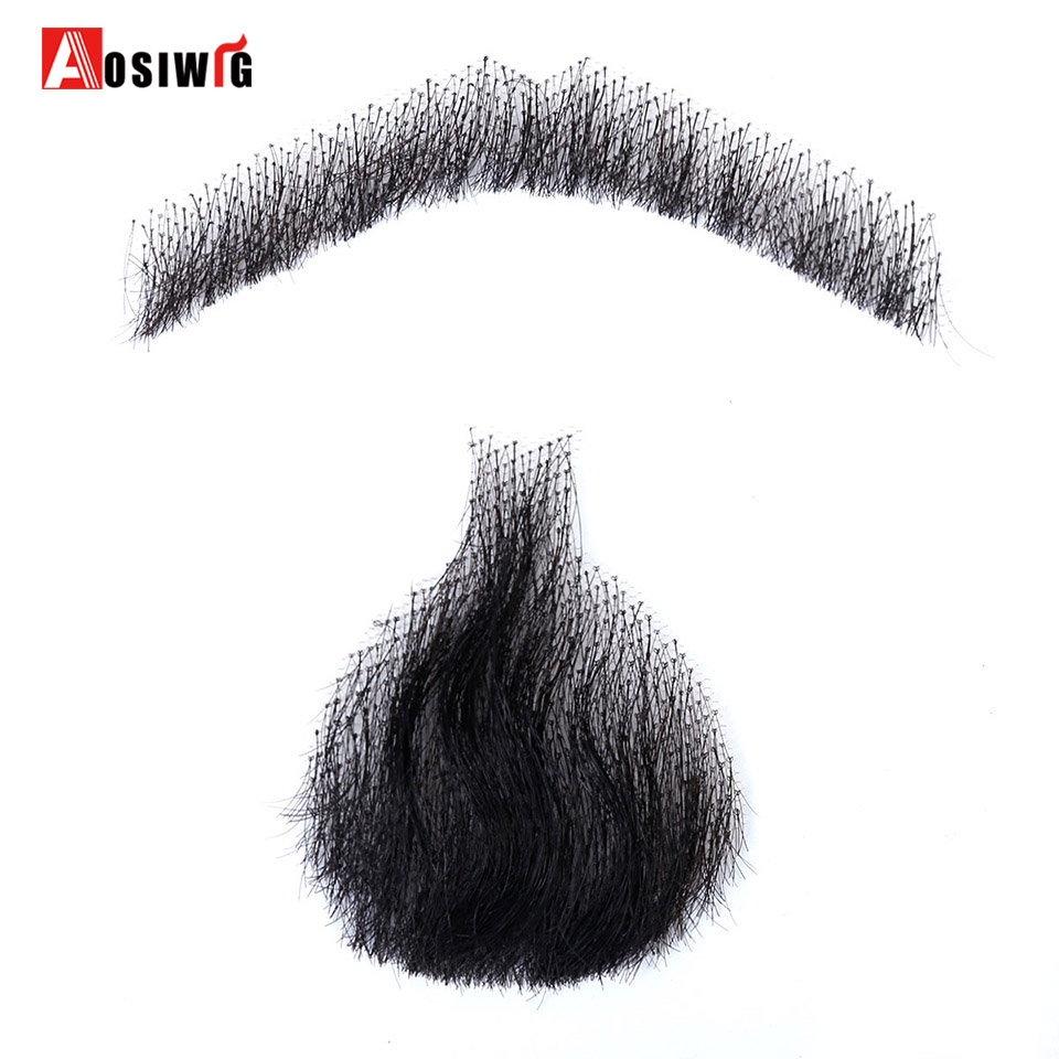 AOSIWIG 5 Style Weave Fake Beard Man Mustache Makeup for Film Television Makeup Real Fancy Facial Hair Cospaly Party
