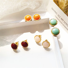 Geometric circular fashion earrings delicate temperament melting resin retro women jewelry wholesale