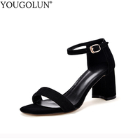 YOUGOLUN Women Ankle Strap Sandals Summer Sexy Lady High Thick Heels Elegant Woman Black Purple Gray Open toe Party Shoes #A 097