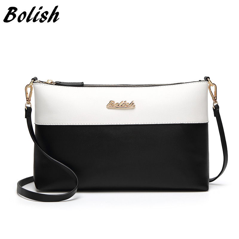 Bolish Soft Leather Women Clutches Bags Single Shoulder Bag Gold Brand Logo Evening Party Handbags