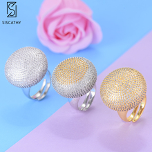 купить SISCATHY 3Colors Charms Big Ball Cubic Zirconia Rings Female Dubai Wedding Party Ring For Women Jewelry Bagues Anillos 2019 дешево