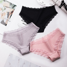 Wasteheart 2018 New Women Fashion Cotton Lace Trim Low Waist Sexy Panties Underwear Lingerie Briefs 3 Piece Color