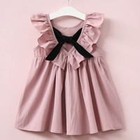 Oklady Summer 2017 New Casual Style Fashion Fly Sleeve Girls Bow Dress Girl Clothing For Children