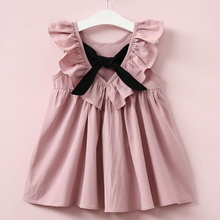 Oklady 2019 Summer New Casual Style Fashion Fly Sleeve Girls Bow Dress Girl Clothes For Children Cute Dresses Ceremony Wear
