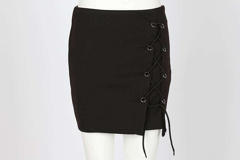 BONGOR LUSS Spring Summer Women Skirts 2017 Fashion New Lace Up Casual Girls Skirts Solid Split Up Pencil Mini Black Sexy Skirts (18)