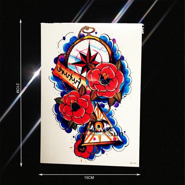 Flash Boussole Horloge Evil Eye De Tatouage Pour Hommes Femmes Faux