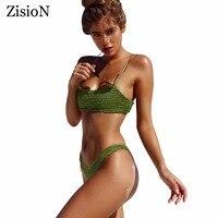 ZisioN Brazilian Bikini 2017 Swimsuit Women Swimwear Sexy Thong Bikinis Set Summer Swimming Wear Girls Bathing