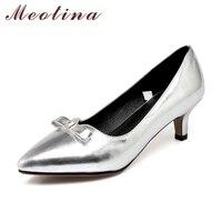 Meotinaโบว์โบว์แมวส้นรองเท้าแหลมงานแต่งงานผู้หญิงปั๊มรองเท้าส้นสูงแฟชั่นS Liverฤดูใบไม้ผลิรอง