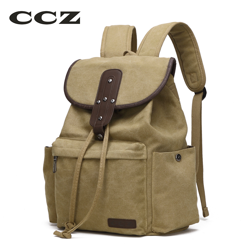 CCZ Canvas Backpack Preppy Style Backpacks Women 14 Laptop Bags Drawstring Bag School Bag Men Travel Bags Mochila BK8009 2016 new arrival brand unisex vintage preppy style canvas bags women backpack men school bag travel bags free shipping