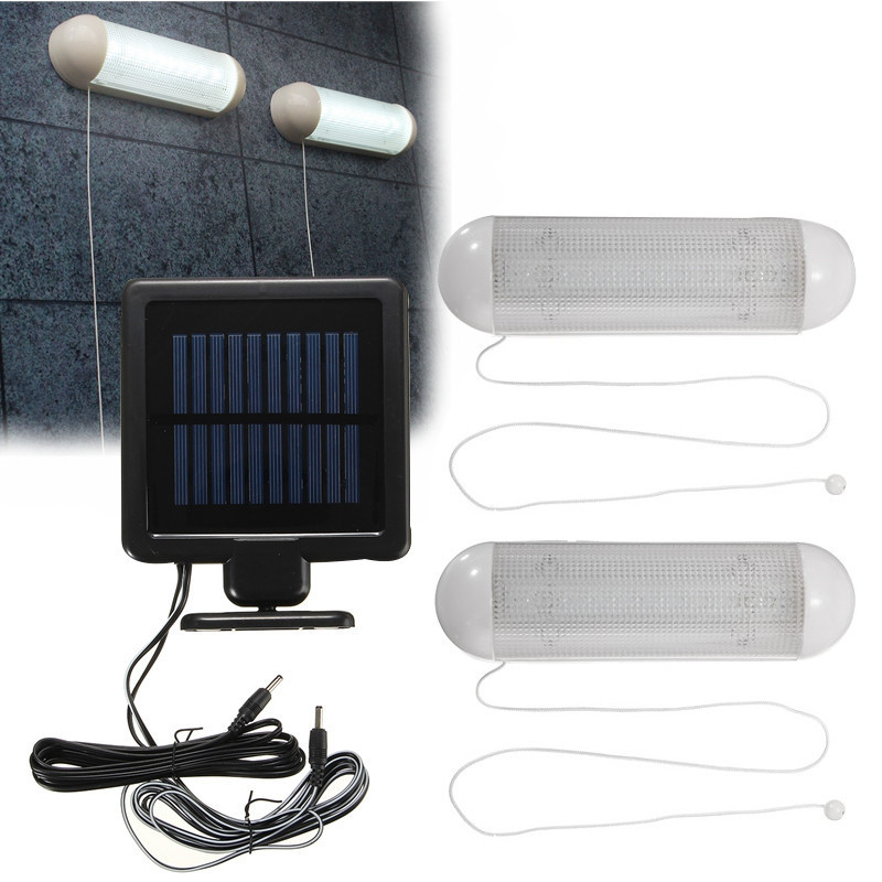 Waterproof 5V Solar Powered 2pcs LED Solar <font><b>Light</b></font> LED Outdoor <font><b>Light</b></font> Bulb Garage Shed Corridor Stable Cord Switch Lamp
