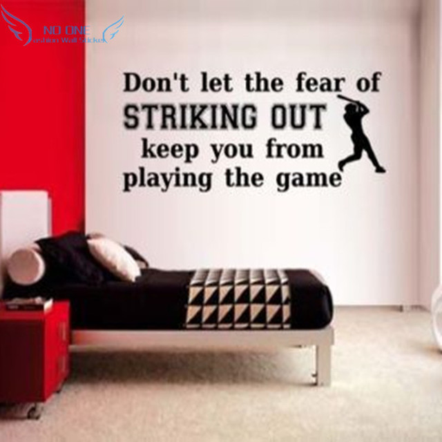 baseball player and text slogans vinyl wall sticker home decorations