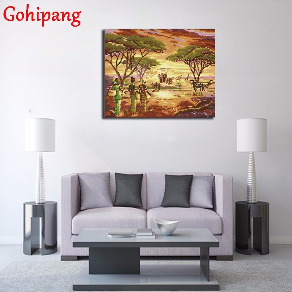 Enmarcado África hierba cuadros pintura por números DIY digital ...