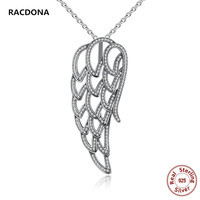 New Luxury 100 925 Sterling Silver Angel Wing Pendant Necklace Clear Zircon Necklaces Charm For Women