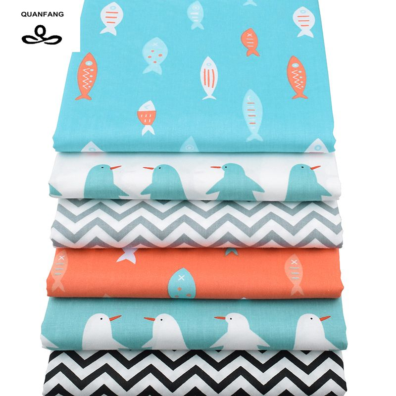 Quanfang printed twill cotton fabric for patchwork diy for Children s material sewing