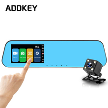 ADDKEY 4.3 inch Touch screen car dvr camera Review Mirror night vision Full HD 1080P dual lens dash cam Video Recorder car dvrs