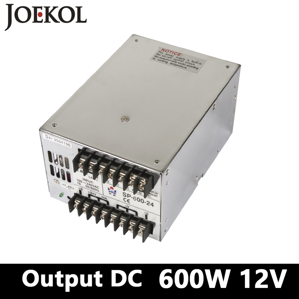 PFC switching power supply 600W 12v 50A,Single Output ac dc converter for Led Strip,AC110V/220V Transformer to DC 12V