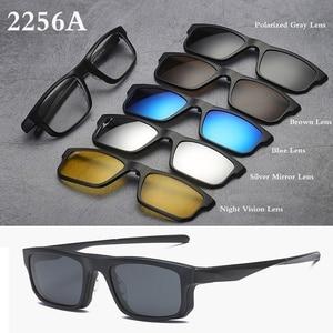 Image 4 - Belmon מחזה מסגרת גברים נשים עם 5 PCS קליפ על משקפי שמש מקוטבות מגנטי משקפיים זכר קוצר ראייה מחשב אופטי RS543