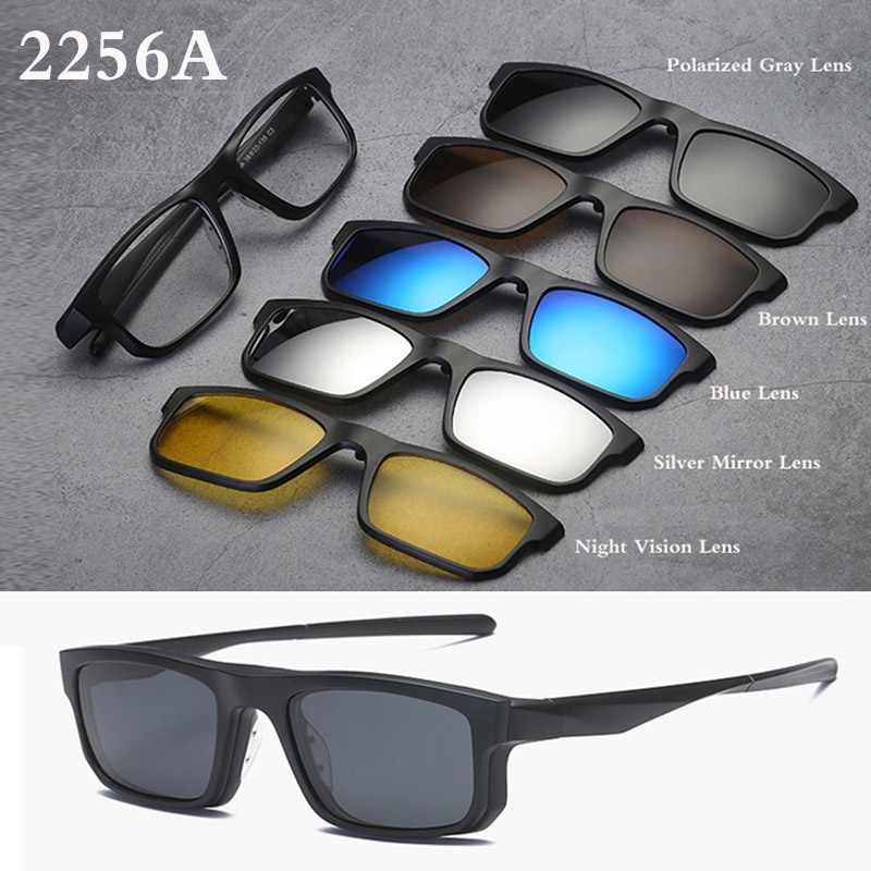 8e68e51c3d ... Belmon Spectacle Frame Men Women With 5 PCS Clip On Polarized  Sunglasses Magnetic Glasses Male Myopia ...