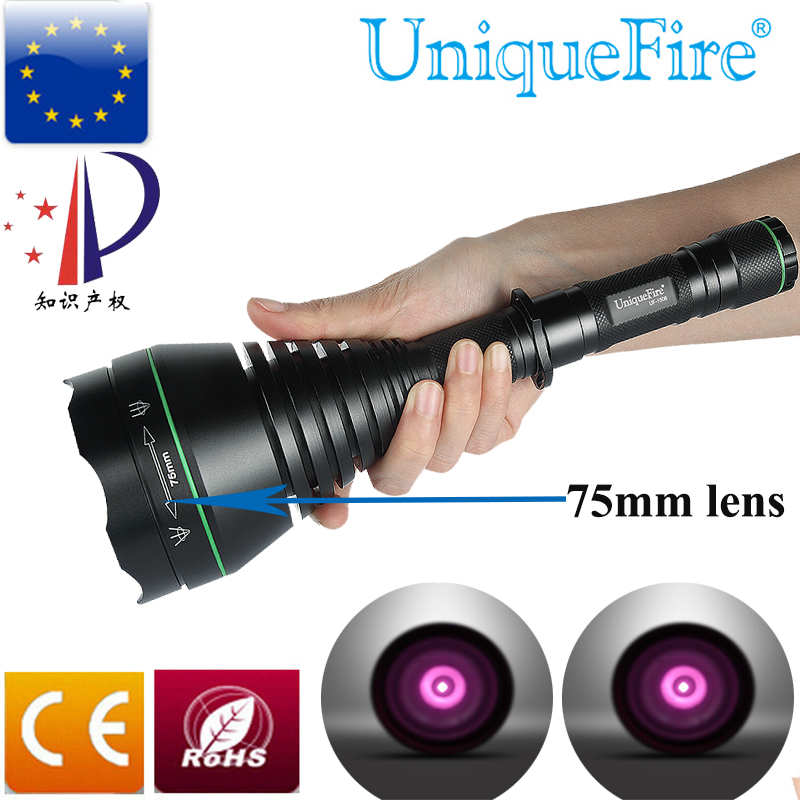 UniqueFire UF-1508 75mm IR 850nm Infrared Illumination LED Flashlight 3 Modes Zoomable Long-Distance for Hunting Waterproof Lamp