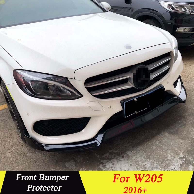 Front Bumper Spoiler For Mercedes Benz W205 2016+ Front Bumper Decoration Lip Diffuser Bumpers Protector Body Kit For C Class-in Bumpers from Automobiles & Motorcycles    1