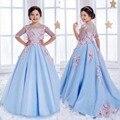 Media Manga de Encaje Vestidos de Niña Para Bodas Sky Light Blue Crystal Vestidos de Fiesta Los Niños Ocasión Especial Vestido de Comunión