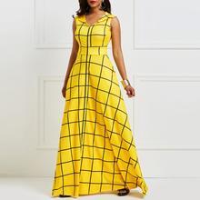 49a5dca709d21c Vrouwen Lange Jurken Elegante Partij Gewaad Geel Plaid Mode Zomer Sexy Hoge  Taille Floor Lengte Avond