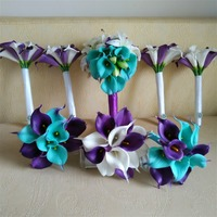 Real Touch Calla Lily Bouquet Boutonnieres Set Bridal Bridesmaid Flowergirls Bouquets Wrist Corsage Mens Boutonnieres