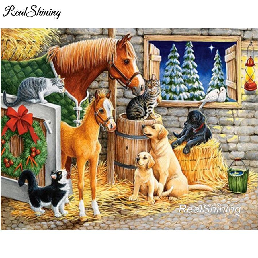 REALSHINING 5D Diamond Embroidery Horses Dogs Diamond Mosaic Diy Diamond Painting Square Rhinestone Pasted Full Craft DM866