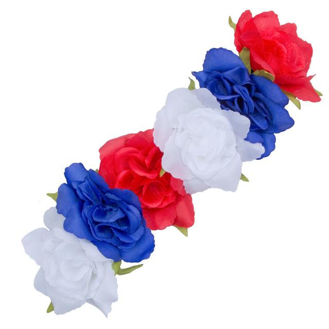 AWAYTR Hair Flower Accessories Wedding 2017 New Red Black Fabric Rose Flower Crown Headbands Boho Large Size Flower Band