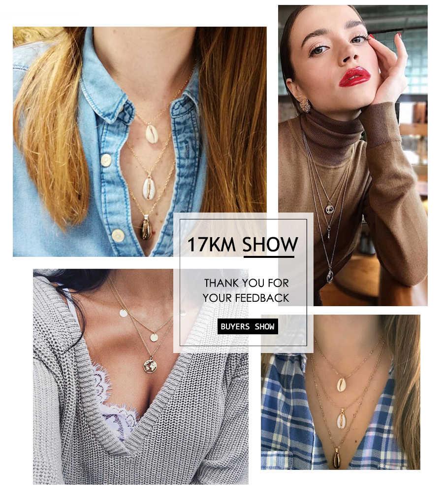 購入 1 取得 1 ギフトゴールドスライバー多層ネックレス女性のためのチョーカーネックレス & ペンダント 2019 女性海ファッションジュエリー