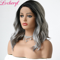 Lvcheryl Ombre Dark Roots To Grey Hand Tied Short Natural Wave Heat Resistant Fiber Hair Synthetic Lace Front wigs for Women