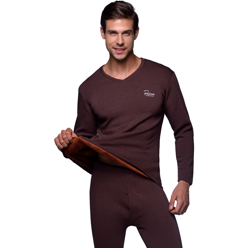 Winter Warm Men's Long Johns Thick Thermal Underwear For Men Solid V-Neck Plus Velvet Termo Clothes Tops+Pants Set Plus Size