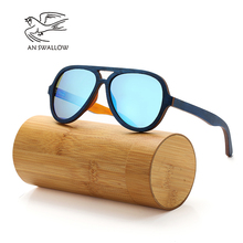 AN SWALLOW  Polarized Sunglasses Women Men Layered Skateboard Wooden Frame Square Style Glasses for Ladies Eyewear In Wood Box цена