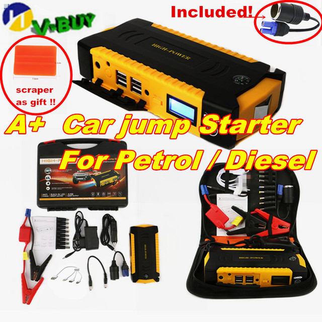 For Petrol Diesel Starting Device Car Jump Starter Battery 12V Capacitance 16000mah Compass SOS Lights Portable Power Bank