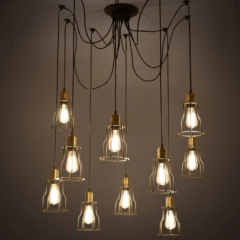 Промышленные винтажные led подвесные светильники металла для высокий потолок кухня столовая Бар Регулируемая паук светодиодный потолочный
