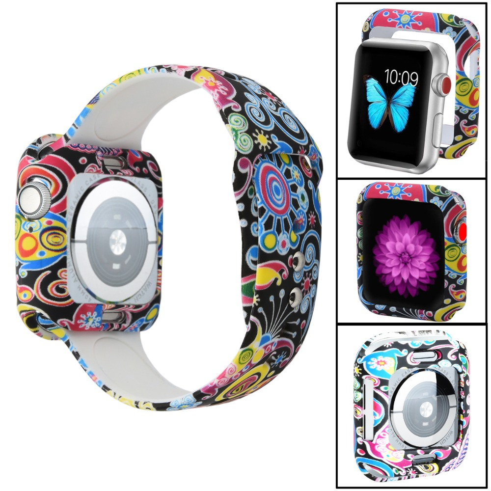 Odog Flower Silicone Cover Case For Apple Watch 4 Band 40mm 44mm For IWatch Series 4 Protect Frame Full Protection Shell