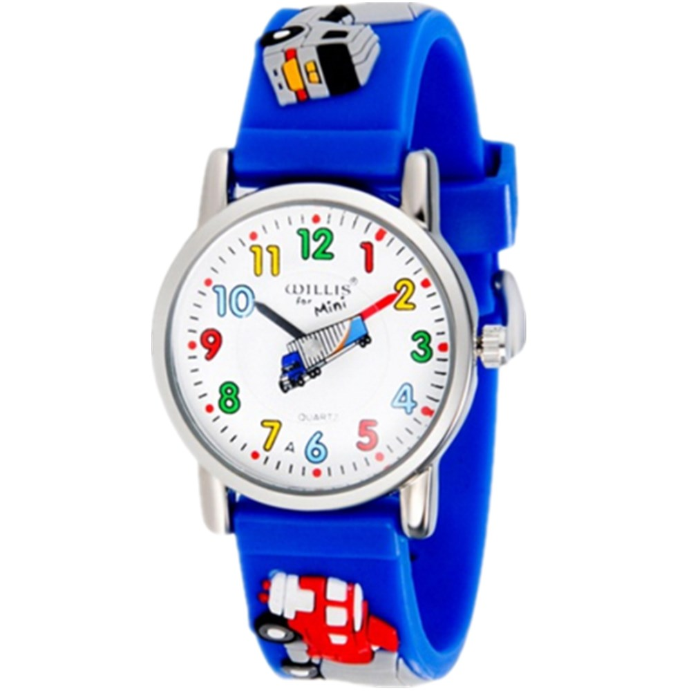 WILLIS Mode barn Vattentät 3D Lorry Cartoon Design Analog Armbandsur Barn Klocka Kid Quartz Armbandsur PENGNATAT