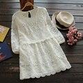 Japonés primavera sweet beige flojo ocasional de las mujeres capa de encaje bordado floral mini princesa dress mori hembra vestido u675