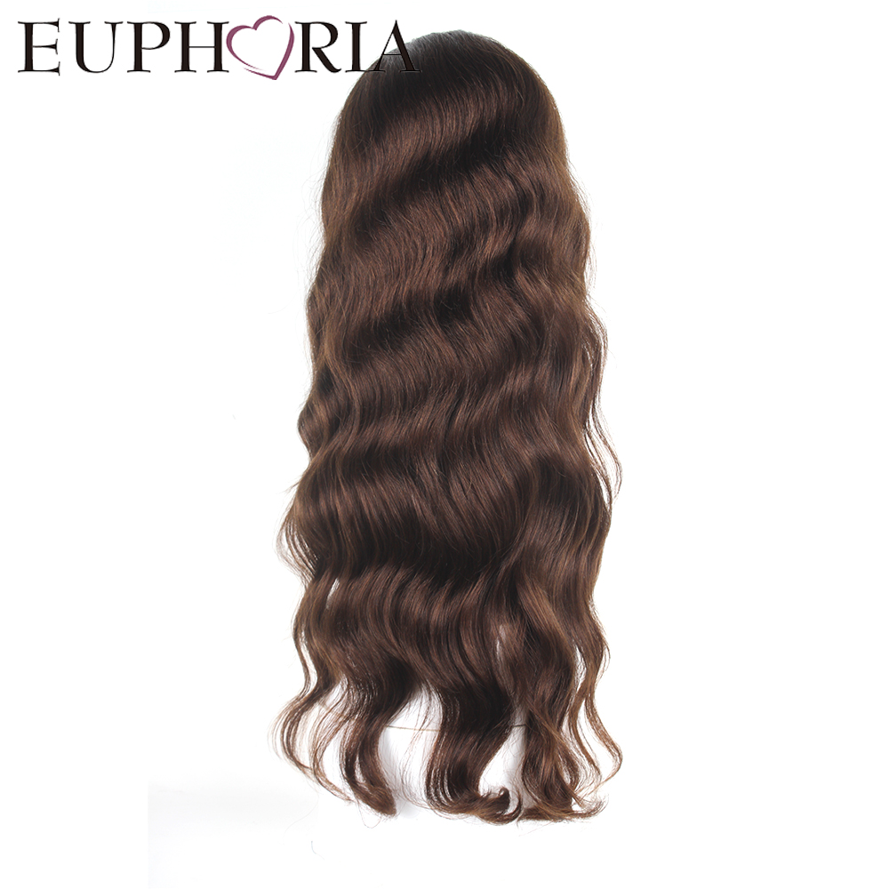 EUPHORIA 24 Inches Long Brazilian Human Hair Natural Color Loose Deep Lace Front Remy Wigs Free part Salon Sald For Black Women