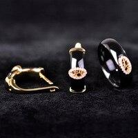 Europe OL Black Round Zircon Ceramic Jewelry Sets Earrings Ring Women Man 18k Oro Gold Oval
