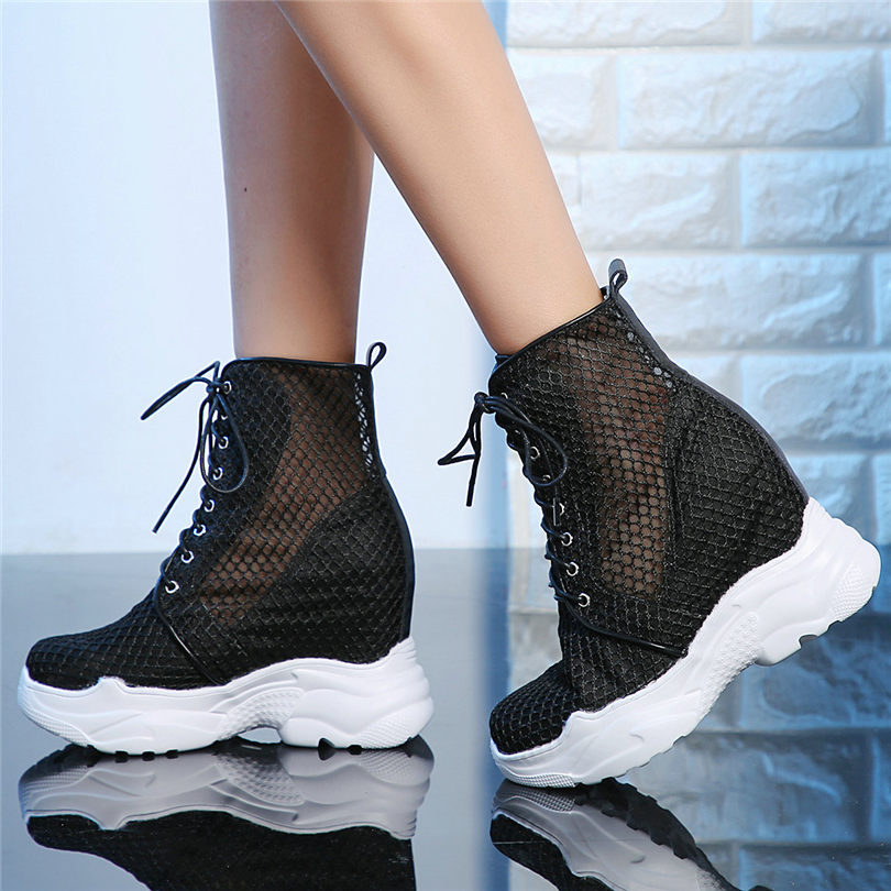 Punk Oxfords Women Cow Leather Mesh Super High Heel Gladiator Sandals Wedges Platform Trainers Shoes Casual Shoes Goth Creepers in High Heels from Shoes