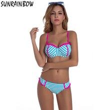 SUNRAINBOW 2017 New Push Up Bikinis Swimwear Women Swimsuit Female Beach Wear Set Striped Bathing Suit Bikini Swimwear Female
