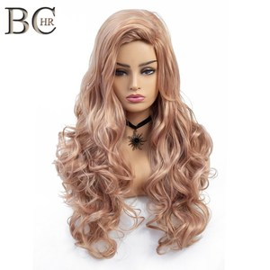 BCHR Long Wavy Synthetic Wig For Women Rose Gold Color Wigs 22 Inch High Temperature fiber Glueless Wavy Cosplay Hair Wig(China)