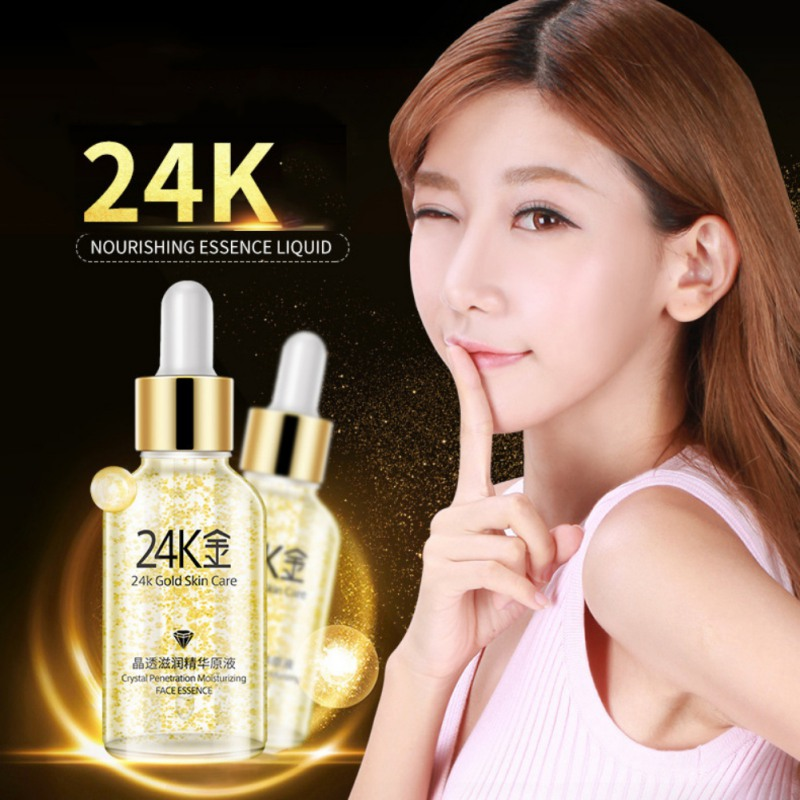 24K Gold Crystal Penetration  Moisturizing  Face Essence Liquid Water Nourishing Essence Skin Care