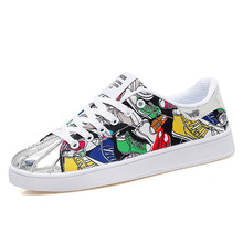 Women's Sneakers 2019 Summer Women's Shoes Fashion Graffiti Breathable Canvas Shoes Hip Hop Casual Flat Shoes Brand Men's Shoes fashion hip hop graffiti canvas shoes rock women girls casual shoes 2018 new woman printed flat shoes