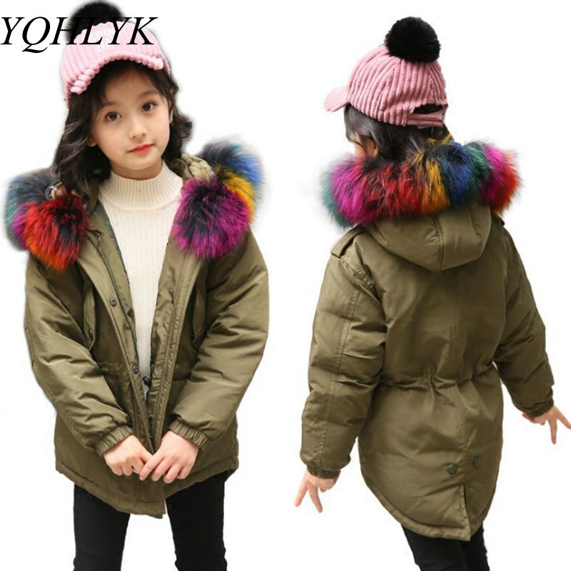 New Fashion Winter Girl Down Jacket 2017 Korean Children Thick Warm Hooded Cotton Coat High-end Atmosphere Kids Clothes W40 new warm boys girls thin down cotton coat baby kids winter spring autumn down jacket children fashion hooded outwear clothes