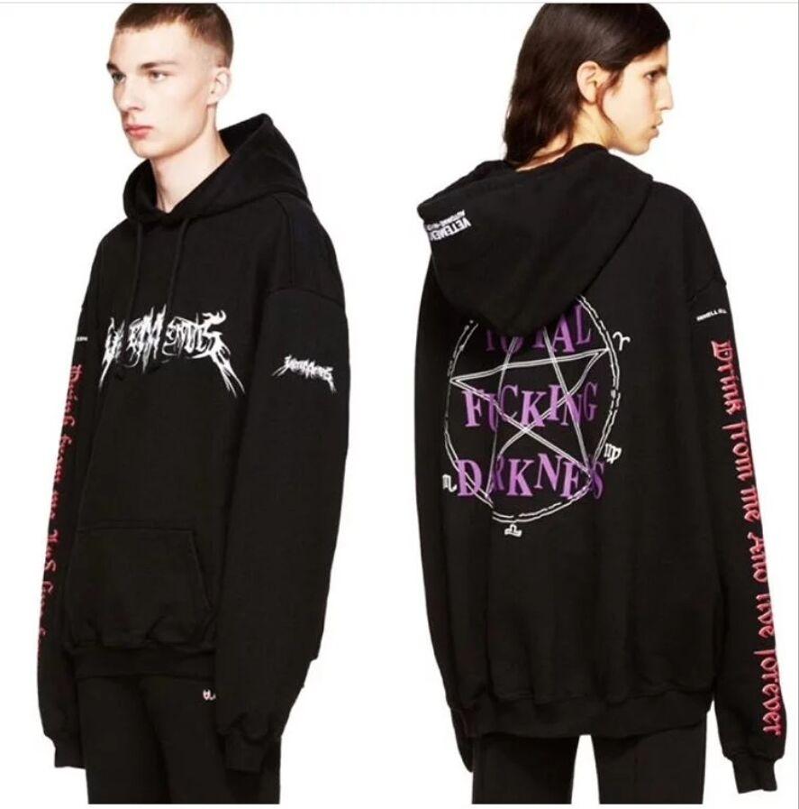 2017 Men s Brand Vetements Hoodie Oversized Kanye West Streetwear Sweatshirts Men Hip Hop SWEAT HOMME