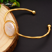 GLSEEVO Natural Fresh Water Baroque Pearl Adjustable Bangle For Women Wedding Gifts Open Bangle Jewelry Pulseira Feminina GB0067