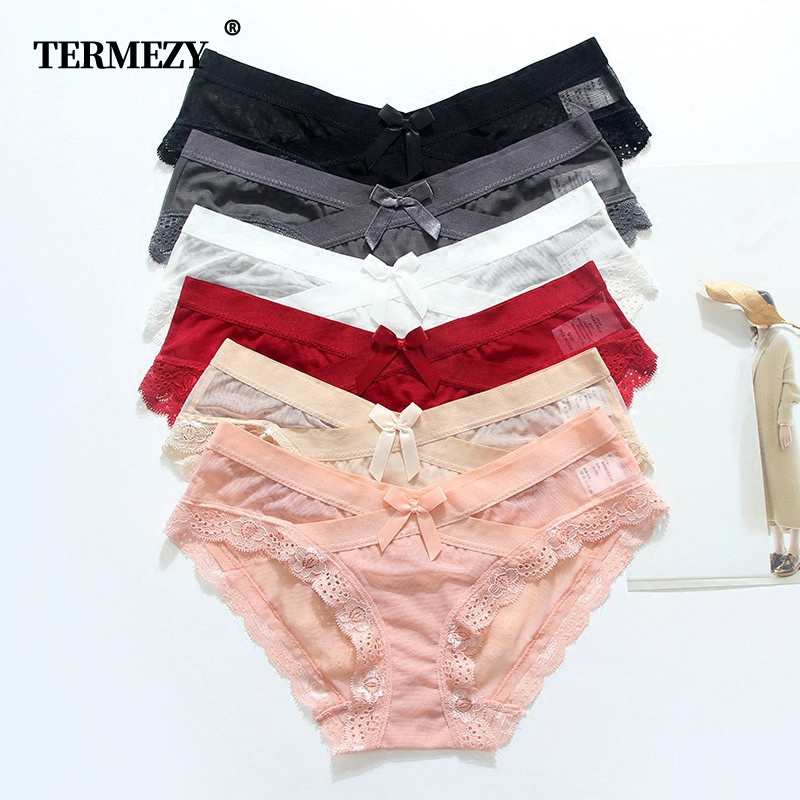 TERMEZY Sexy Briefs Low Waist Panties Bottom Cotton No Trace Lingerie Breathable Underwear Women Lace Ladies Underpants 6 Color